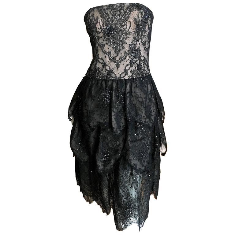Oscar de la Renta Vintage Black Layered Lace Petal Dress 1
