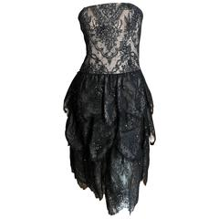 Oscar de la Renta Vintage Black Layered Lace Petal Dress