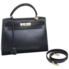 Hermès Kelly 28 Sellier Night Blue leather Bag 1994