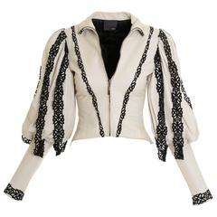 FENDI Puffed Sleeve Soft Leather Jacket