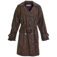 1980s YVES SAINT LAURENT Purple and Green Floral Print Trench Coat