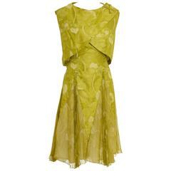 1950s Italian Couture Floral Print Cocktail Suit Pleateds Bolero Suit Dress