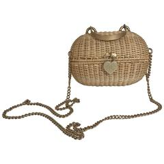 Chanel Rattan Heart Basket Bag