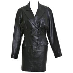 1990s Alaïa Black Leather Jacket & Skirt