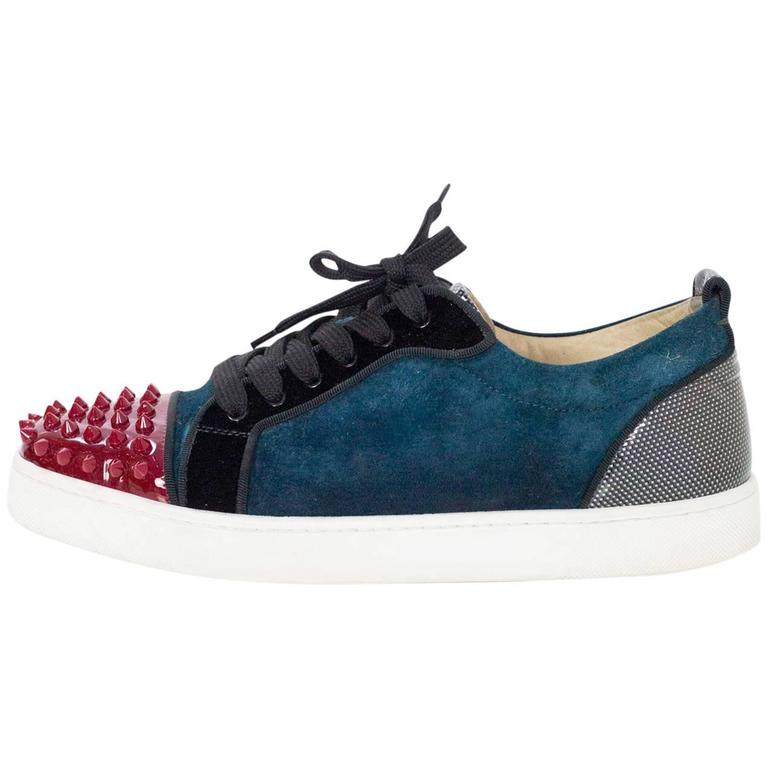 4b68b37495c Christian Louboutin Teal and Red Louis Jr Spike Sneakers Sz 40 rt ...