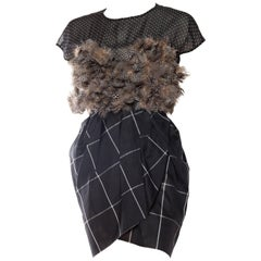 1990S GEOFFREY BEENE Black & Grey Silk Feathers Cocktail Dress