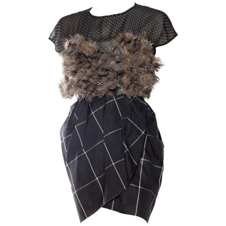 1990S GEOFFREY BEENE Black & Grey Silk Feathers Cocktail Dress For Sale