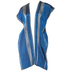1930S Blue Hand Woven Rayon Blend With Real Silver Threads Kaftan Vest