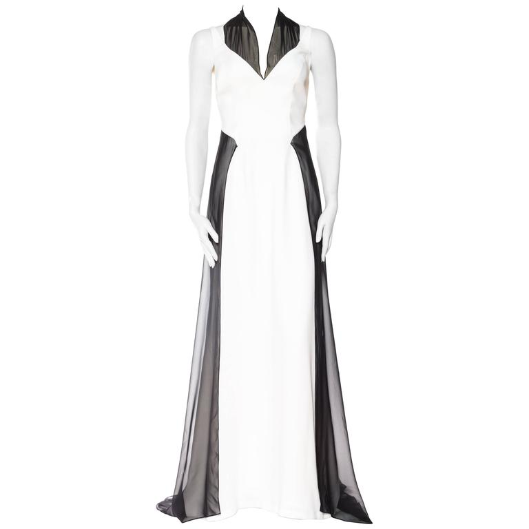 Backless Thierry Mugler Couture Chiffon Trained Gown Size 44