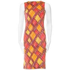 1990S MISSONI Orange & Green Silk Jersey Mod Printed Dress
