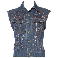 Late 1960s-1970s Studded Lee Denim Jacket Vest