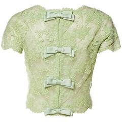 1950s Sheer Celadon Green Lace Blouse
