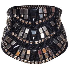 Awesome Metal Studded Krizia Velvet Belt