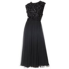 1960S RUTH MCCULLOCH Black Polyester Chiffon Crystal Beaded Dress