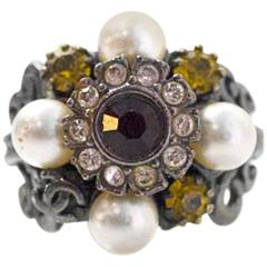 Chanel Multi Stone & Faux Pearl Ring Sz 6.5