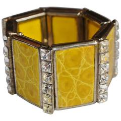 Bracelet with Clear Swarovski Crystals and Yellow Alligator