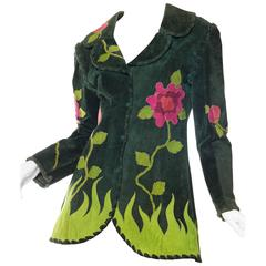 1960s 1970s Suede Jacket with Rose Appliques