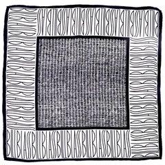 Bill Blass Vintage Silk Scarf Statement Logo Black White Abstract Geometric