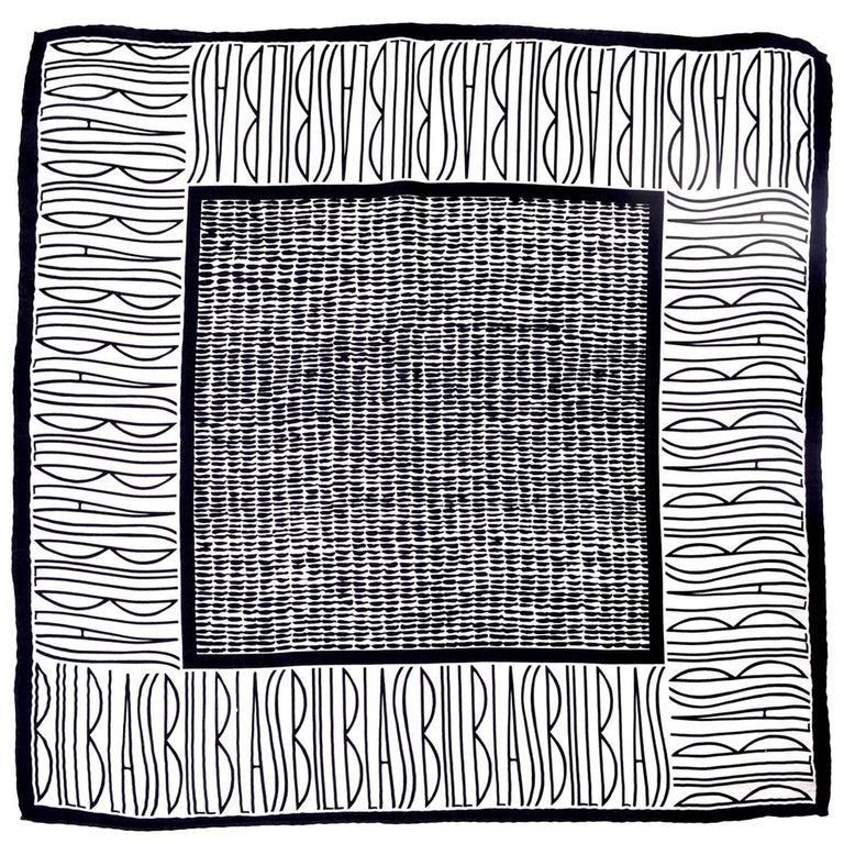 Bill Blass Vintage Silk Scarf Statement Logo Black White Abstract Geometric For Sale