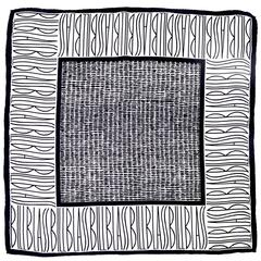 Bill Blass Vintage Silk Scarf Statement Logo Black White Abstract Geometric