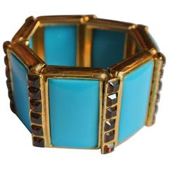 Bracelet with Topaz Swarovski Crystals and Turquoise Insets