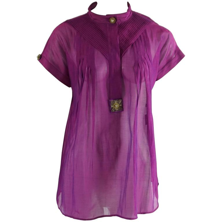 Versace Purple Silk Organza Short Sleeve Top with Stone Detailing – 38