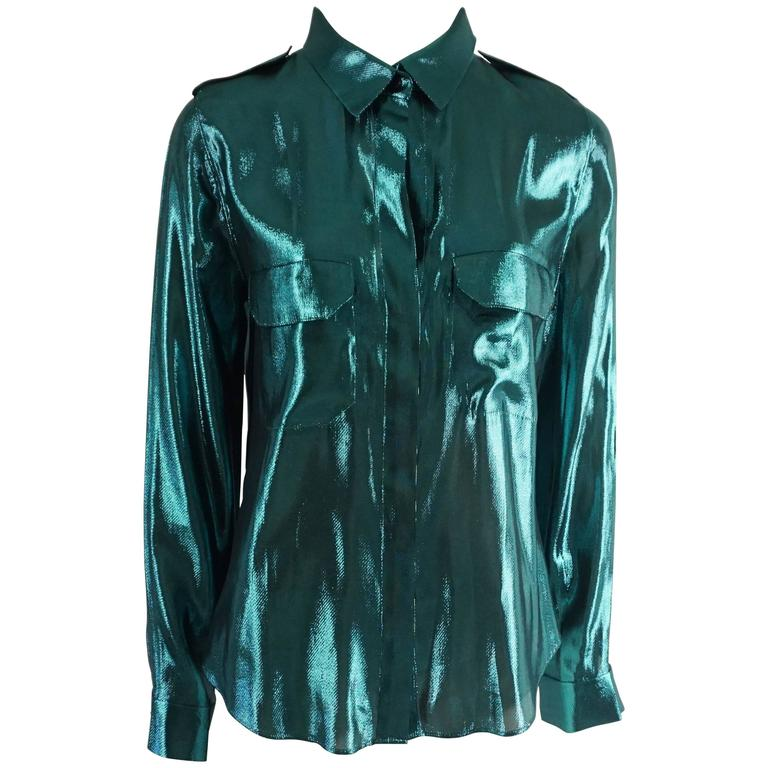 Lanvin Metallic Teal Silk Lame Button Down Shirt – 38 For Sale