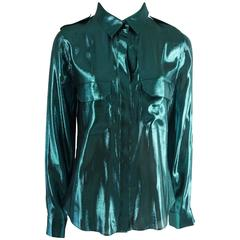 Lanvin Metallic Teal Silk Lame Button Down Shirt – 38