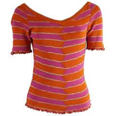 Missoni Pink and Orange Knitted Short Sleeve Top – S