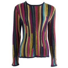 Missoni Multicolor Striped Long Sleeve Mohair Sweater - M
