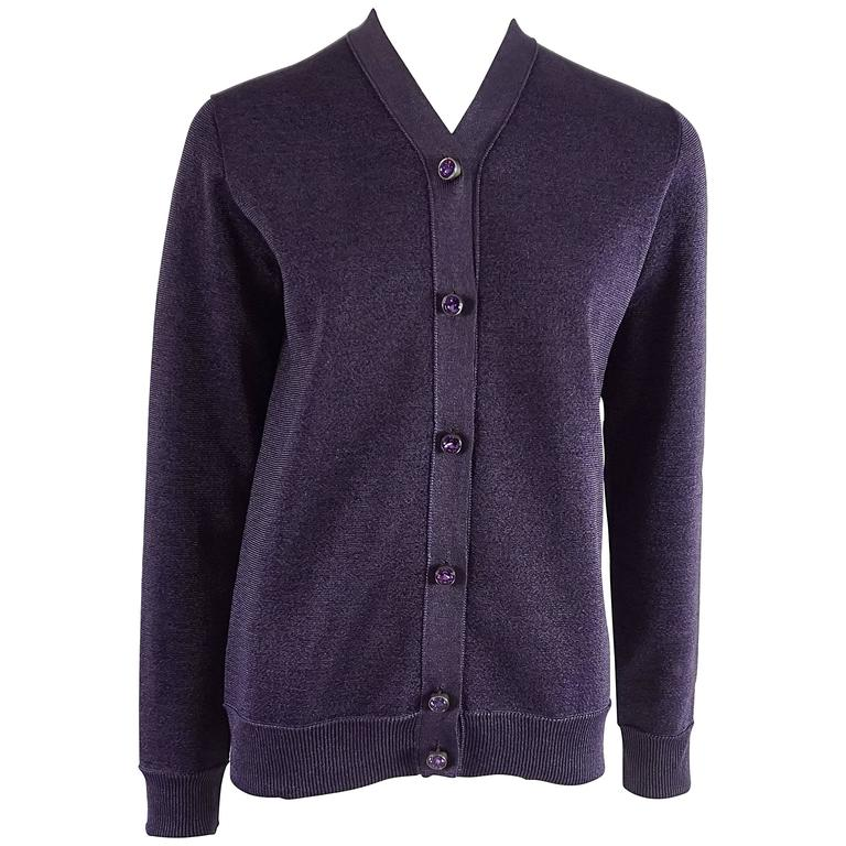 f3b79ce3b861 Louis Vuitton Purple Metallic Cardigan with Rhinestone Buttons – S For Sale