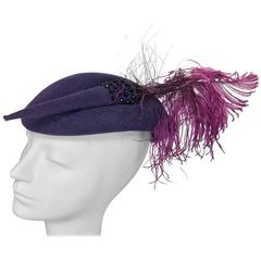 Vintage Mr John purple wool beaded and feather cocktail hat 1950s