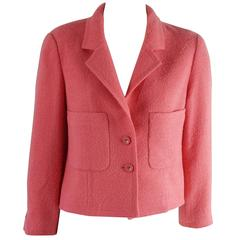 Chanel Pink Wool Crop Jacket with Pockets – 8 - 1980's