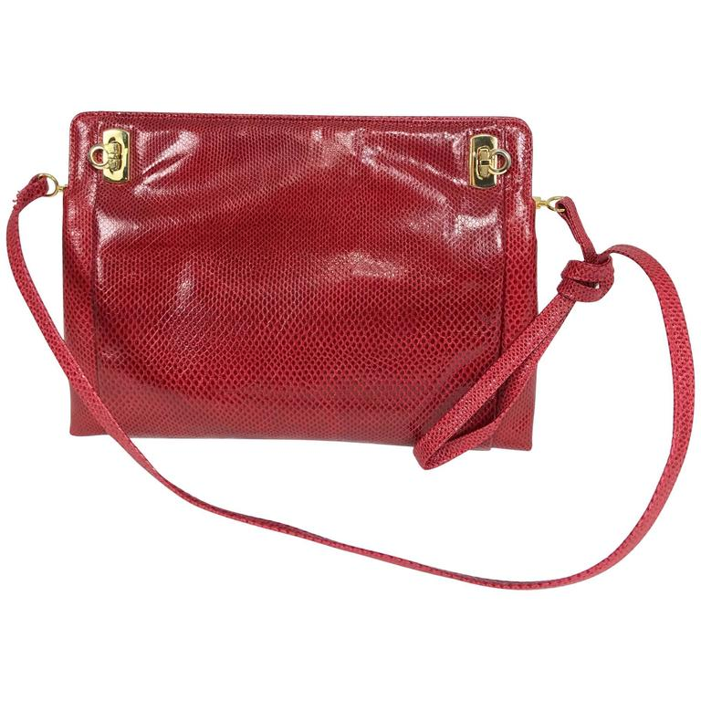 Vintage Ferragamo red lizard clutch cross body handbag 1980s For Sale