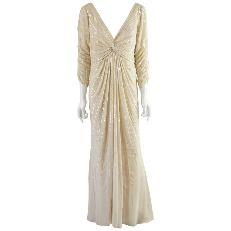 Valentino Cream Silk Beaded 3/4 Sleeve Gown – 12 1