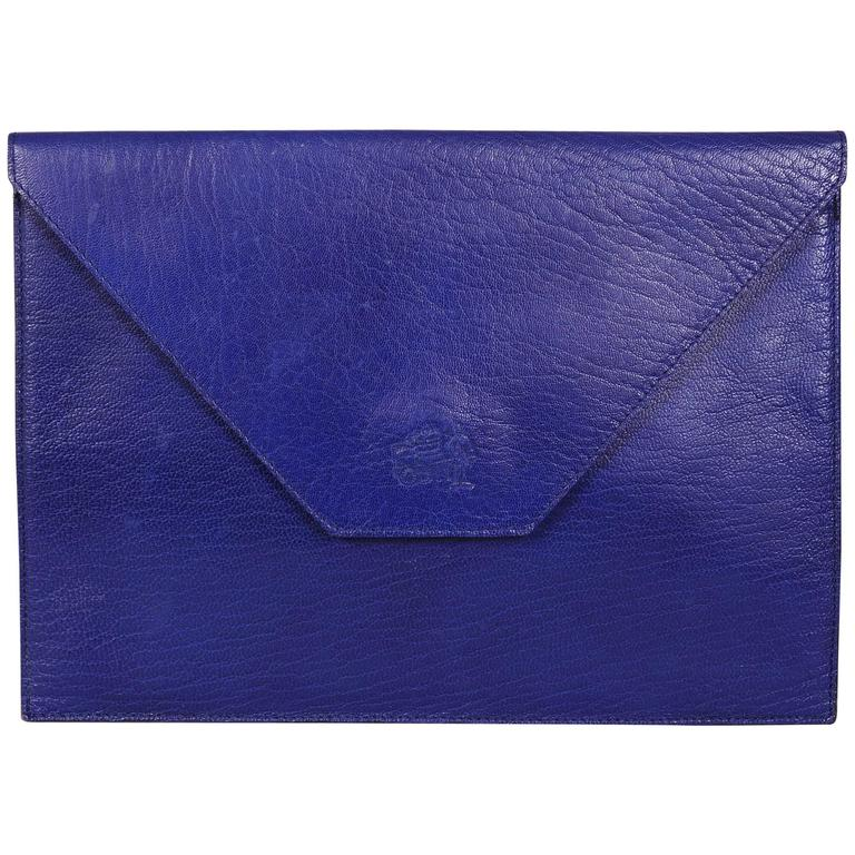 La Bagagerie, Paris Bright Blue Leather Envelope Clutch For Sale