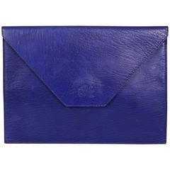La Bagagerie, Paris Bright Blue Leather Envelope Clutch