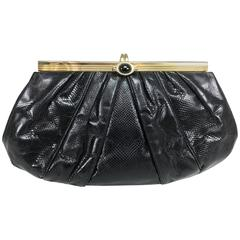 Judith Leiber black lizard clutch shoulder bag with gold frame jewel clasp