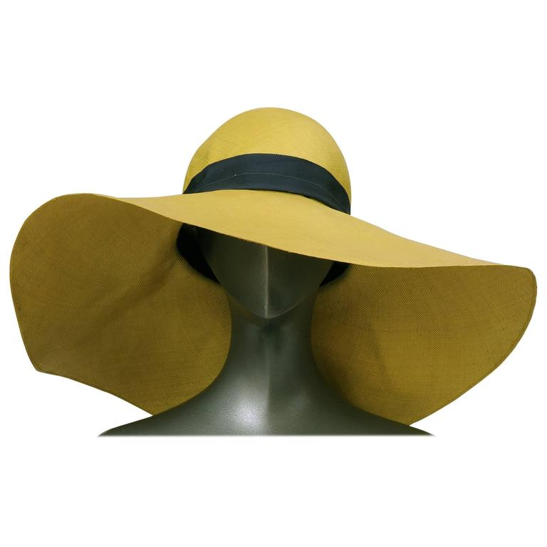 Adolfo Oversized Chartreuse Straw Hat Circa 1970 For Sale