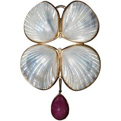 Marguerite Stix Shell Pin or Pendant Ruby Diamonds and Gold