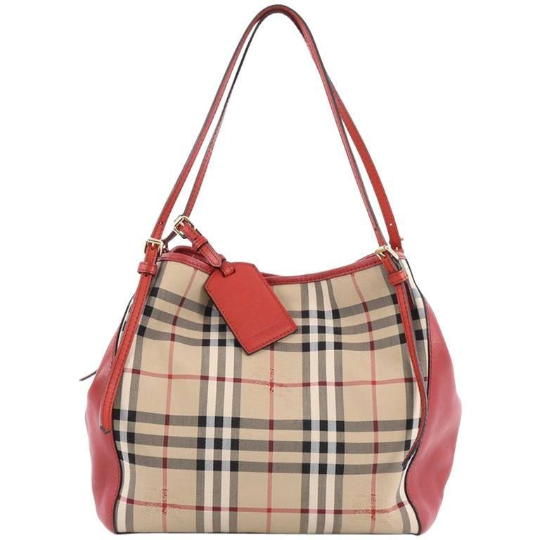 4bf4100f7294 Burberry Canterbury Tote Horseferry Check Canvas and Leather Small For Sale