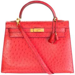 Hermes Red Ostrich Sellier Rigid 32cm Kelly Bag with GHW