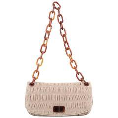 Prada Resin Chain Gaufre Flap Bag Leather Medium