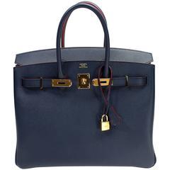 Hermes Bleu Indigo and Rouge H Epsom 35 cm Contour Birkin Bag with GHW