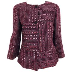 Chanel 2000 Cruise collection Burgundy abstract sequin grid jacket