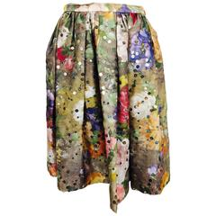 Vintage Christian LaCroix sequined floral satin open pleated skirt 1980s