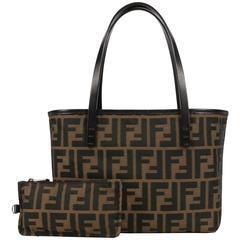"""FENDI Brown Tobacco Zucca Canvas Genuine Leather Handle Mini """"Roll"""" Tote Bag"""