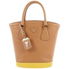 Prada Lux Convertible Bucket Tote Bicolor Saffiano Leather Medium