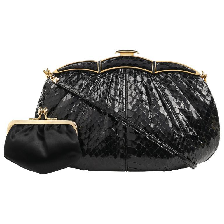 JUDITH LEIBER c.1980's Black Snakeskin Gold Scalloped Frame Evening Bag Purse
