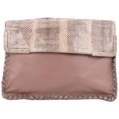 Bottega Veneta Fold Over Convertible Shoulder Bag Leather with Python Med